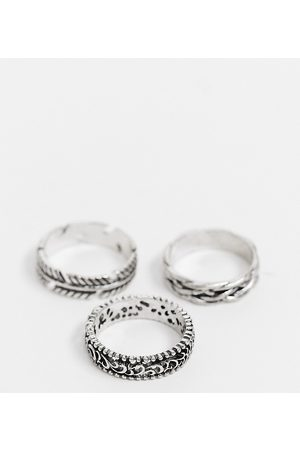 Reclaimed Vintage Rings - Inspired ring multipack with feather detail in silver
