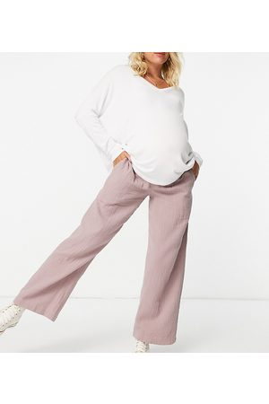 ASOS ASOS DESIGN Maternity cheesecloth pull-on trackies in heather pink with under-the-bump band