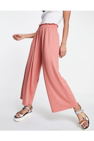 ASOS Culotte pants with shirred waist in terracotta-Orange