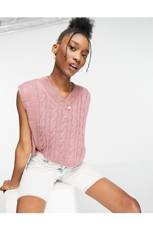 Topshop Tank Tops - Knitted cable cropped tank-Pink