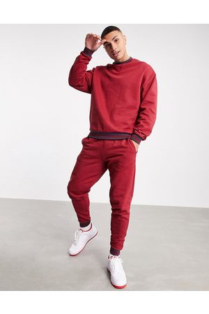 ASOS Outfit Sets - Co-ord oversized sweatshirt with tipping in red