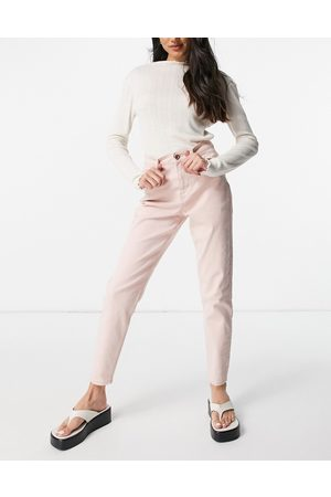 Pieces High waisted mom jean in pastel pink