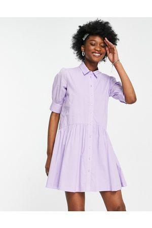 Pimkie Button-front smock mini poplin dress in purple