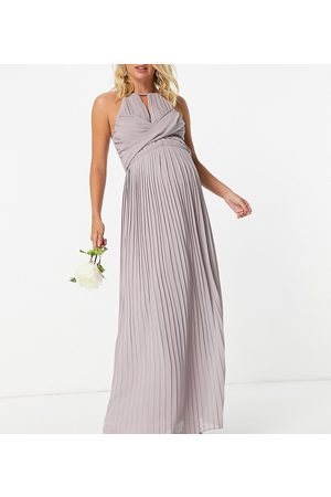 TFNC Maternity Bridesmaid pleated wrap detail maxi dress in grey