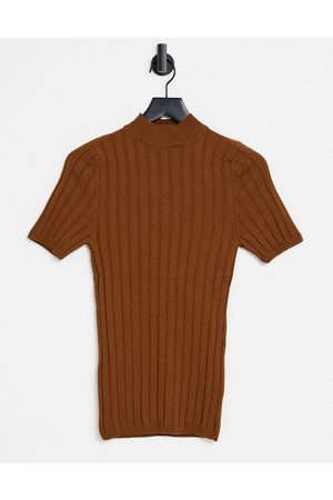ASOS Knitted ribbed turtle neck t-shirt in tan-Brown
