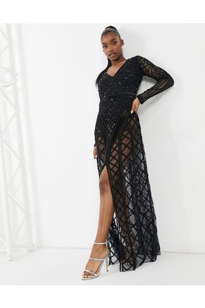 A Star Is Born Embellished long sleeve v-neck maxi dress in black