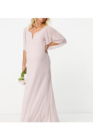 TFNC Bridesmaid sweetheart neck flutter sleeve maxi dress in mink-Pink
