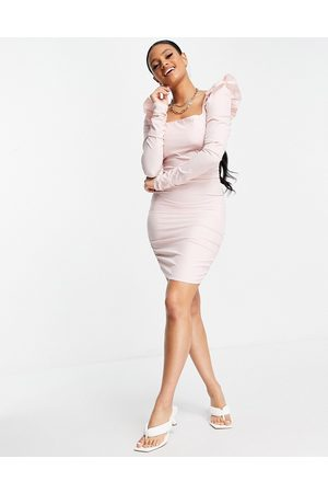 Love & Other Things Mesh long-sleeved bodycon dress in pink