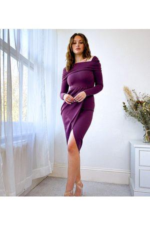 ASOS Tall Women Midi Dresses - ASOS DESIGN Tall bare shoulder midi dress in aubergine-Purple