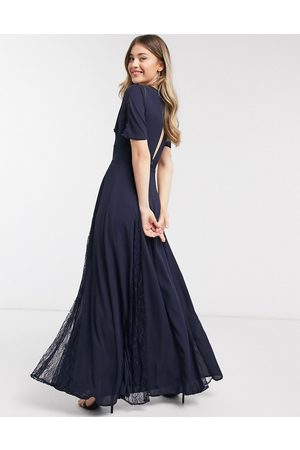ASOS Bridesmaid maxi dress with lace insert panels in navy