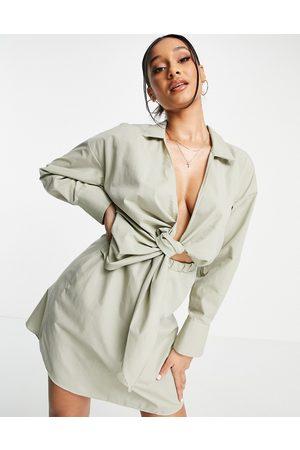 ASOS Collared tie drape front mini shirt dress in poplin in khaki-Green