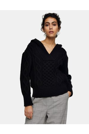 Topshop Cable knit hoodie in black