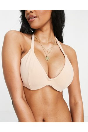 ASOS Fuller bust mix and match towelling hidden underwired bikini top dd-g in sand-Neutral