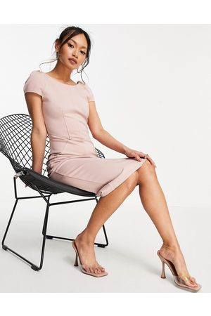 Closet Puff shoulder pencil dress with bodice detail in blush-Pink