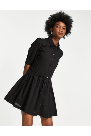 Pimkie Button front smock mini poplin dress in black