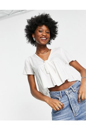 ASOS Short sleeve tie front tea blouse in ivory-White