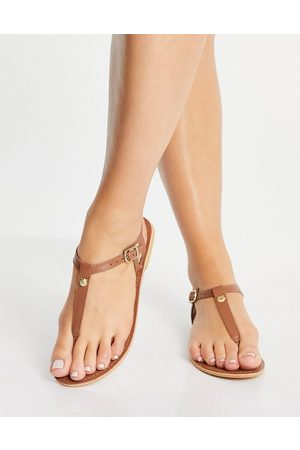 Accessorize T-bar sandal in tan leather-Brown