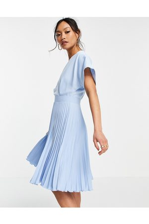 Closet Wrap front pleated skater dress in pastel blue