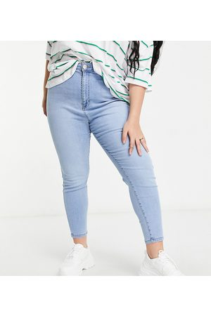 Cotton On Cotton On Curve high waisted skinny jeans in light wash-Blue