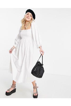 Stradivarius Shirred midi poplin dress in white