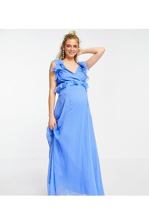 ASOS ASOS DESIGN Maternity tiered ruffle midi dress with tie back in blue