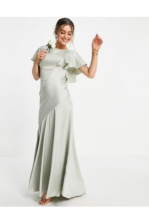 ASOS Bridesmaid flutter sleeve satin maxi dress with button side detail-Green