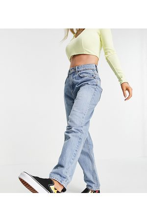 ASOS Petite ASOS DESIGN Petite high-rise 'slouchy' mom jeans in stonewash-Blue