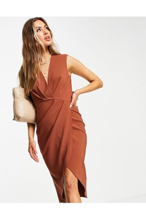 ASOS Women Midi Dresses - Sleeveless shoulder pad pleat midi dress in brown