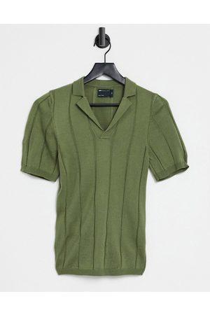 ASOS Knitted wide rib revere t-shirt in khaki-Green