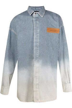 Palm Angels Men Denim - Bleached denim shirt