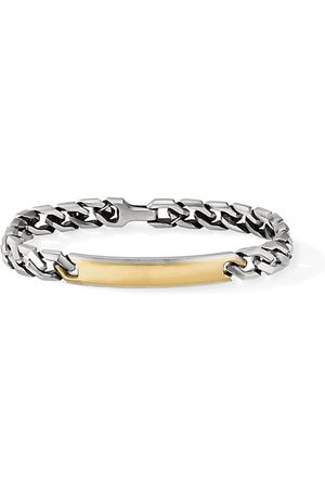 David Yurman Men Bracelets - Chain Sterling & 18K Yellow Gold Angular Curb Link ID Bracelet