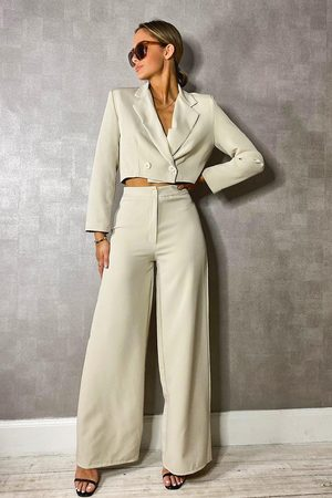 boohoo Women Blazers - Woven Tailored Cropped Blazer- Stone