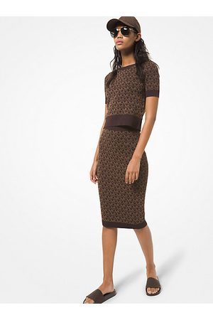 Michael Kors Women Skirts - MK Stretch Logo Jacquard Skirt - Chocolate - Michael Kors