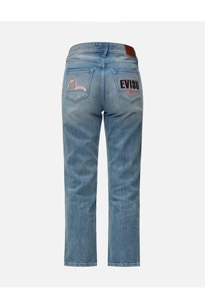 Evisu Women Jeans - Seagull and Logo Embroidered Relax Fit Jeans