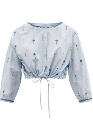 LE SIRENUSE, POSITANO Jinny Hand-embroidered Cotton Cropped Top - Womens - Light
