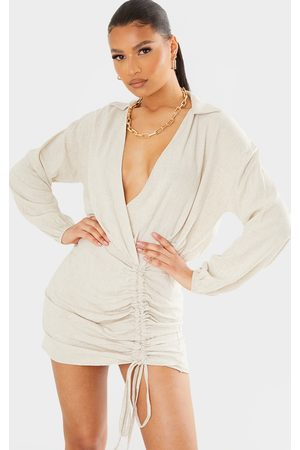 PrettyLittleThing Stone Linen Long Sleeve Plunge Ruched Shirt Dress