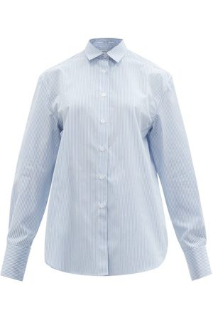 Another Tomorrow Men Casual - Men's Oversized Striped Cotton-poplin Shirt - Womens