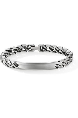 David Yurman Men Bracelets - Chain Sterling Angular Curb Link ID Bracelet