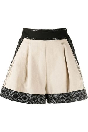 Twin-Set Embroidered-panel shorts