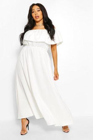 Boohoo Plus Ruffle Bardot Maxi Dress- Ivory