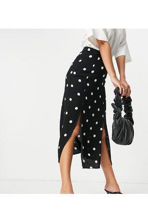 Nobody's Child Midi slip skirt with thigh splits in white spot-Black