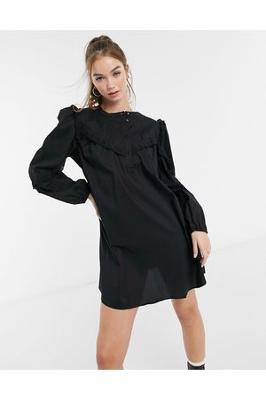 JDY Cotton smock mini dress with frill detail in black