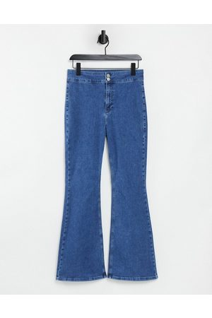 Topshop Three stretch flare jeans in mid wash blue