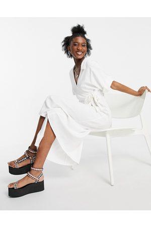 ASOS Linen wrap midi dress in ivory-White
