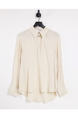SELECTED Femme shirt with button detail in beige-White