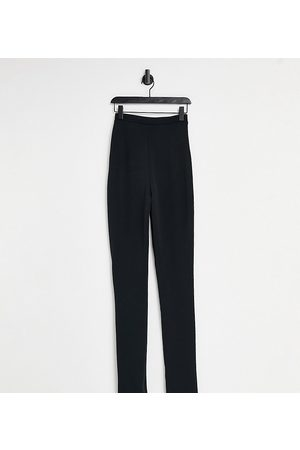 Flounce London High waist tailored stretch pant with split front in black