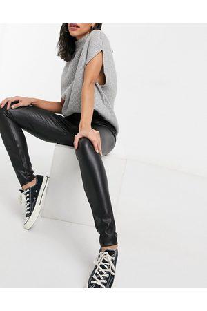 ONLY Leather look leggings in black