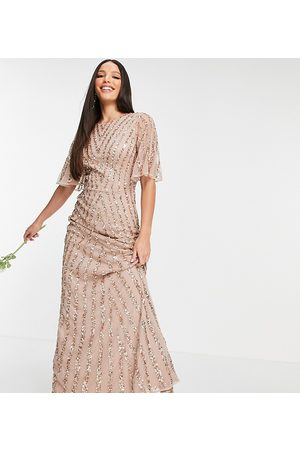 Maya Flutter sleeve all-over patterned sequin dress in taupe blush-Pink