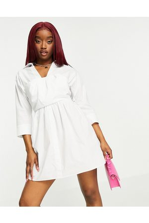 ASOS Cotton 2 in 1 bandeau crop top mini shirt dress in white