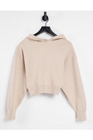 ASOS Mix and match lounge premium knitted hoodie in biscuit-Brown